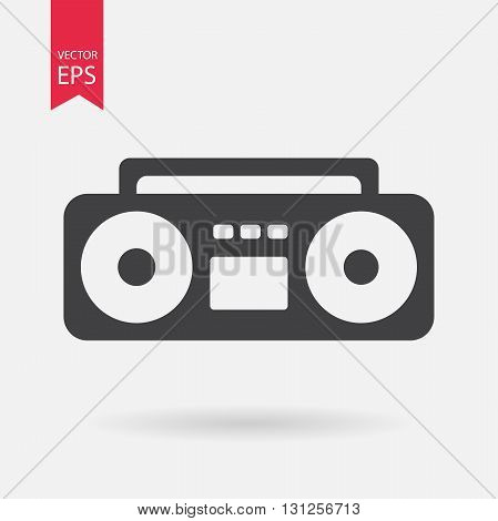 Boom Box Icon Vector. Boom Box sign isolated on white background. Boom Box silhouette. Ghetto blaster icon. Vector Flat design
