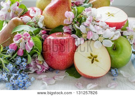 Apple and pears in spring composition with flower on the linen tablecloth