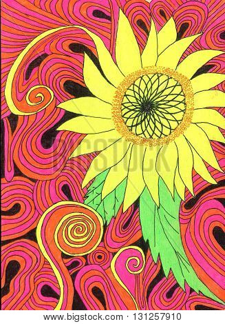 flower, yellow, pink, doodle, sunflower, patterns, pic