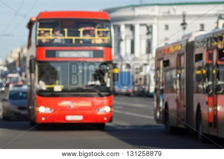 indistinct photo the big red bus with two levels closeup on the street city for industrial indistinct background