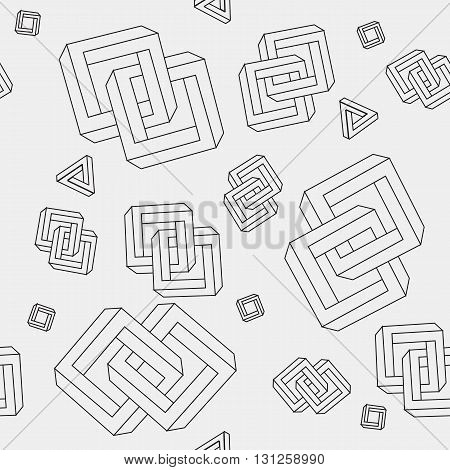 Pattern geometric seamless simple monochrome minimalistic pattern of impossible shapes, rectangles, triangles poster