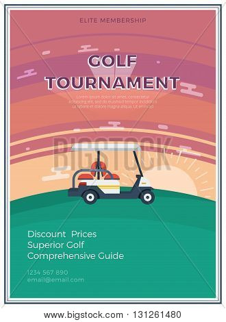 Elite membership golf tournament flat icon poster with email address and golf car at sunrise or sunset in the middle vector illustration