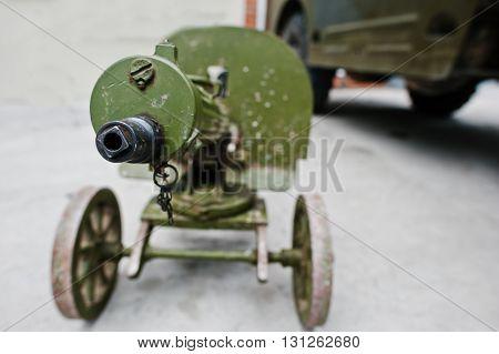 Old Vintage Machine Gun, Maxim's System. Maxim Gun