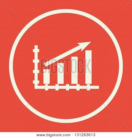 Stats Up Icon In Vector Format. Premium Quality Stats Up Symbol. Web Graphic Stats Up Sign On Red Ba
