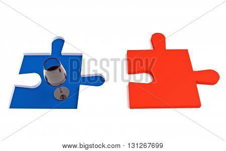 French wine, Tricolor, puzzle piece, 3d illustration