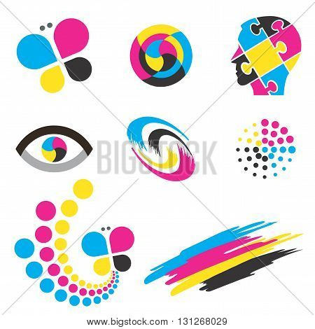 Set of  colorful icons and design elements for presentation of color printing. Vector available.