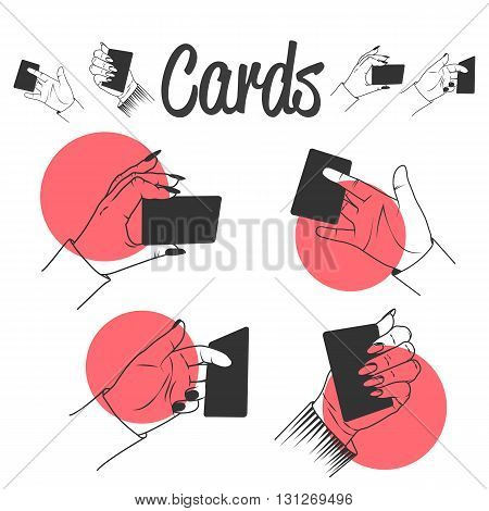 Human hands playing with cards. Magic tricks with cards. Vector set of labels, emblems, icons and logo isolated on white background.