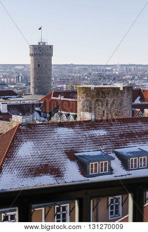 Toompea castle tower - Tall Hermann on the hill of Toompea in Tallinn capital of Estonia