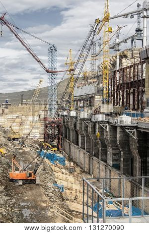 Construction of hydro electric station in Siberia