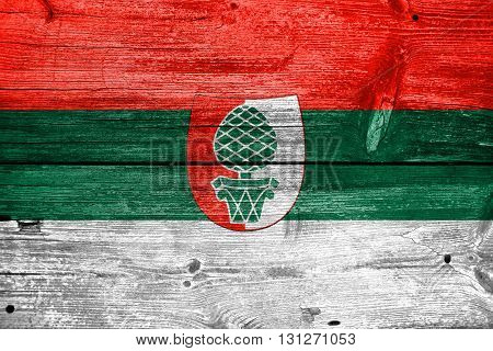 Flag Of Augsburg, Painted On Old Wood Plank Background
