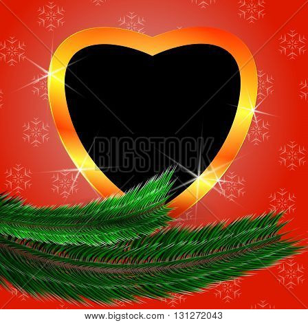 Cute Christmas Background With Heart Shaped Blank Photo Frame