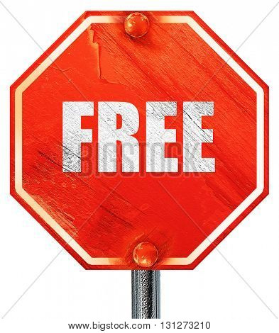 free sign background, 3D rendering, a red stop sign