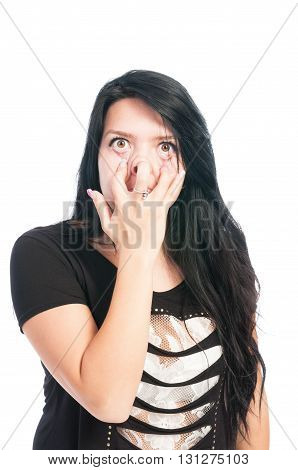 Teen Girl Making Goofy, Funny, Scarry Face.
