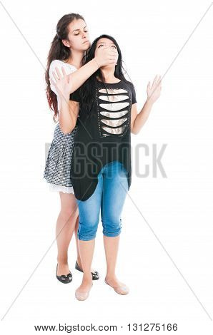 Taller Girl Bullying Her Friend