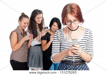Bullying girls using smartphones on white background