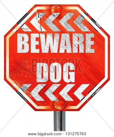 Beware of dog sign, 3D rendering, a red stop sign