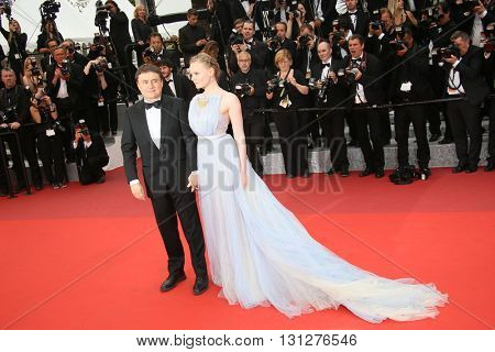 Maria Dragus and Crisitan Mungiu attend the Closing Ceremony of the 69th annual Cannes Film Festival at the Palais des Festivals on May 22, 2016 in Cannes, France.