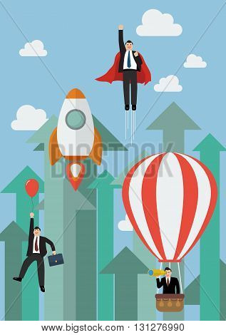 Businessman flying competition against growing up arrows. Business concept