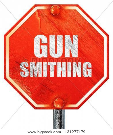 gun smithing, 3D rendering, a red stop sign