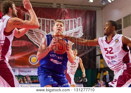 Bc Neptunas Forward Vytautas Sarakauskas With Ball