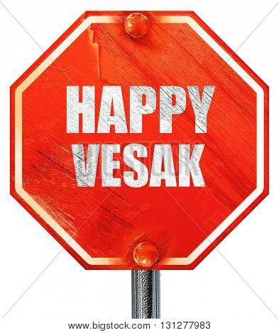 happy vesak, 3D rendering, a red stop sign
