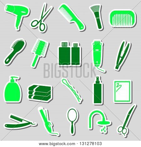 Hair Care Theme Color Simple Stickers Set Eps10