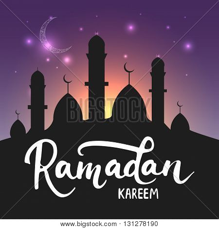 Ramadan Kareem shiny greeting card background with moon, lanterns, lettering and mosque. Vector illustration for Ramadan - holiest month in the Islamic calendar for Muslims.