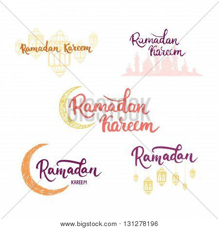 Ramadan Kareem greeting cards set background with moon, lanterns, lettering and mosque. Vector illustration for Ramadan - holiest month in the Islamic calendar for Muslims.