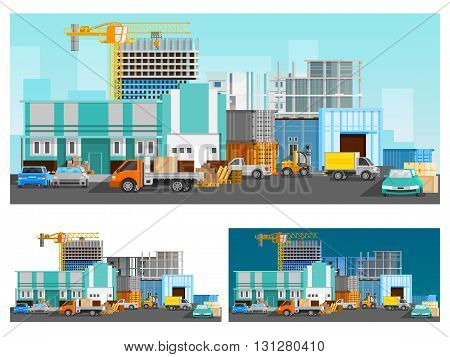 Warehouse building and logistics orthogonal compositions set with cars flat isolated vector illustration