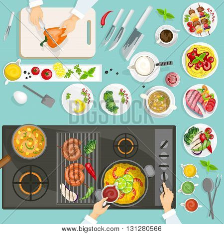 Chef workplace top view with dishes and utensils cooker surface grill vector illustration
