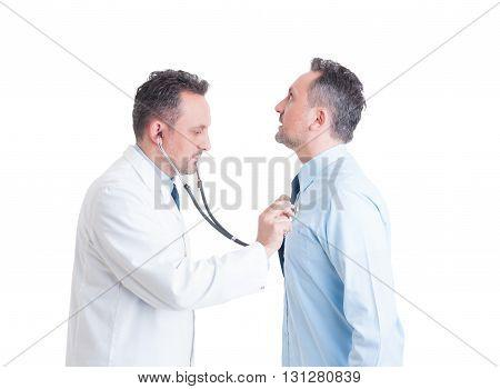 Doctor Or Medic Using Stethoscope On His Doppelganger