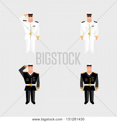 Set american military officer salutes in the background on american flag in style of cartoon and flat