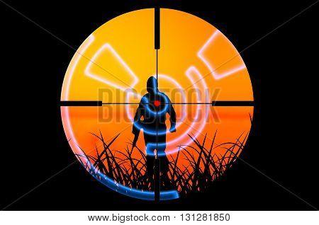 Terrorist attacked by sniper concept. Conceptual terrorism illustration poster