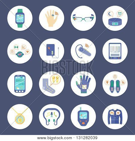 Smart Technology Round Icons Set. Wearable Technology Vector Illustration. Wearable Technology Gadgets Flat Symbols. Wearable Technology Gadgets Design Set. Wearable Technology Gadgets Isolated Set.