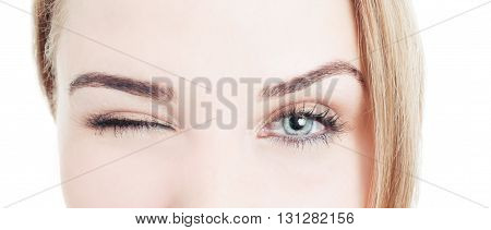 Close-up With Beautiful Woman Eyes And Wink
