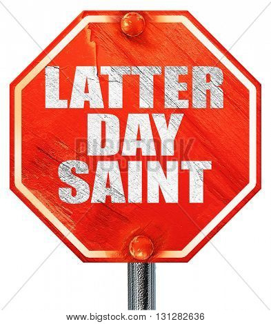 latter day saint, 3D rendering, a red stop sign