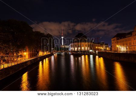 night view on Bode Museum and Television Tower in Berlin, Germany