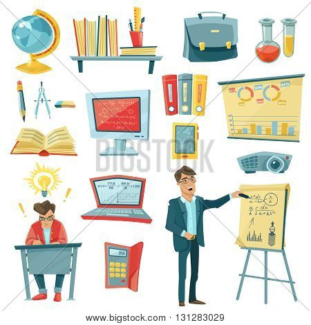 School education decorative icons set of teacher with pointer at board pupil at table textbooks at shelves globe tablet calculator isolated vector illustration