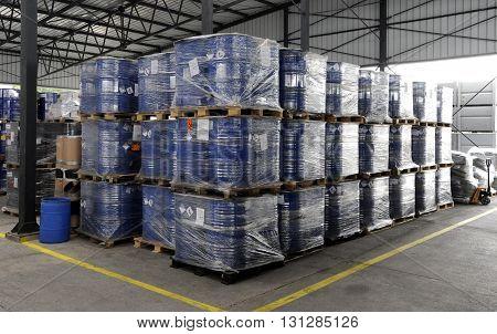 Chemical Plant, Plastic Storage Drums, Big Barrels