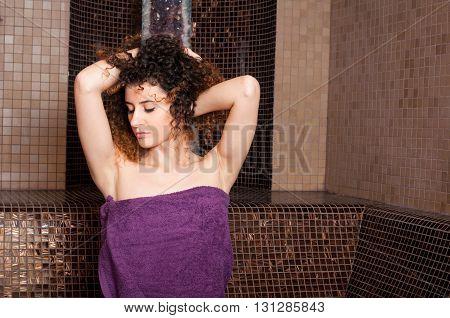 Close-up Of Female Enjoying A Turkish Steam Bath