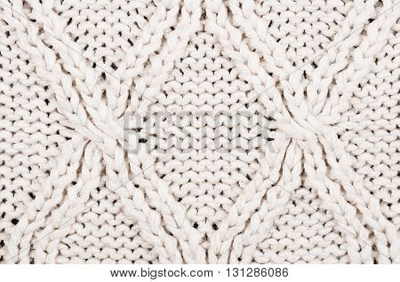 Close-up Of Beige Knitted Winter Sweater With Pattern