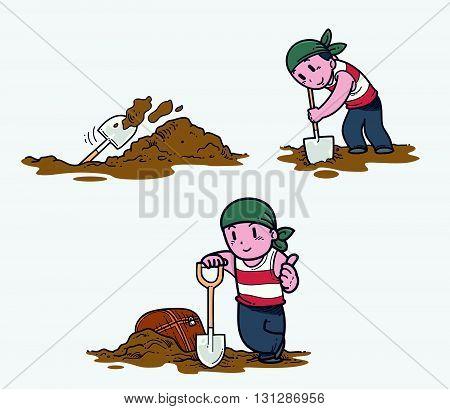 Vector illustration of a man digging treasure
