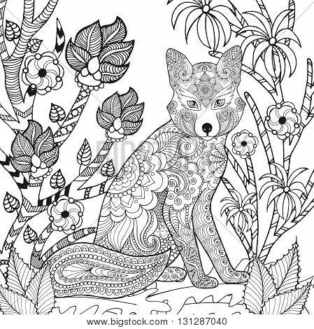 Zentangle stylized fox in fantasy garden. Animals. Hand drawn doodle. Ethnic patterned illustration. African, indian, totem tatoo design. Sketch for avatar, tattoo, poster, print or t-shirt.