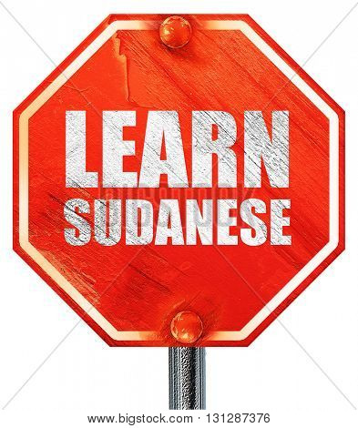 learn sudanese, 3D rendering, a red stop sign
