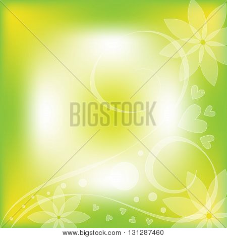 Beautiful green and white background with flowers and hearts