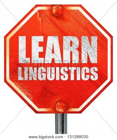 learn linguistics, 3D rendering, a red stop sign