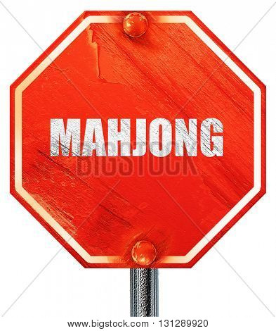 mahjong, 3D rendering, a red stop sign
