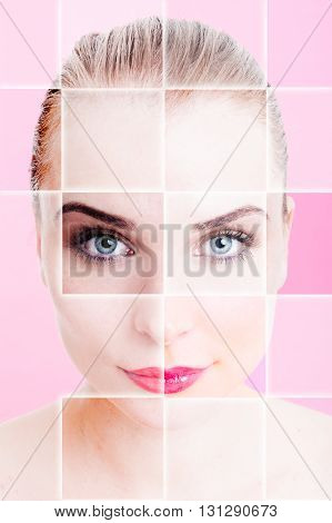 Collage With Woman's Portrait With Ideal Skin