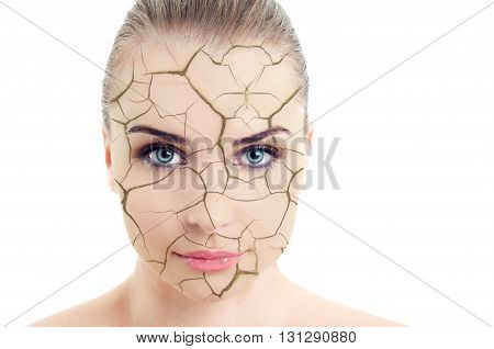 Close-up Of Woman Cracked And Damaged Face