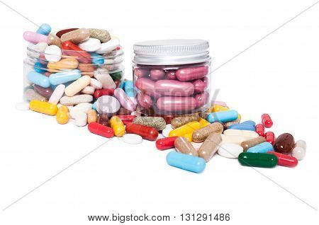 Jars Or Recipient With Many Colored Pills